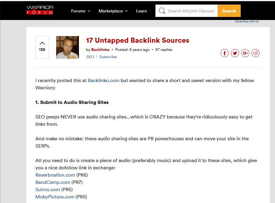 Warrior forum backlinko profile