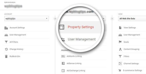 property settings Google Analytics
