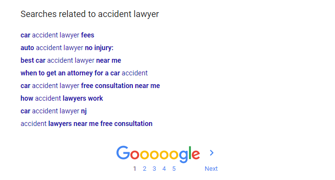 search queries related to lawyers and attorney services