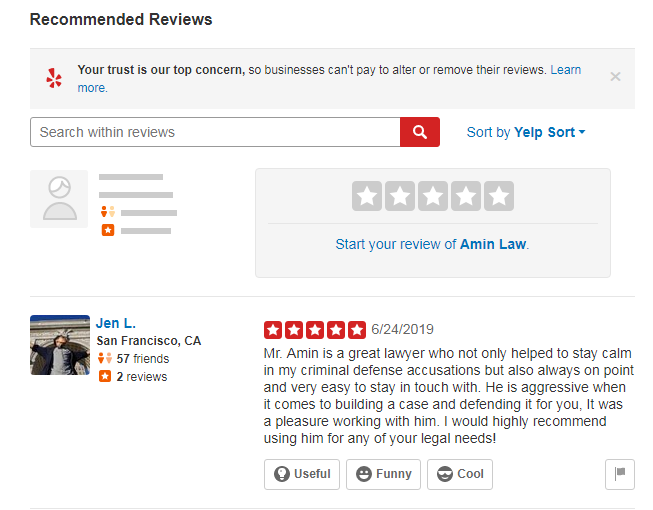 reviews from yelp on legal business