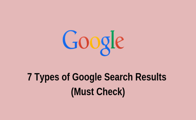 types of google search results